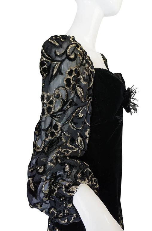 Early 1980s Yves Saint Laurent Gold & Black Velvet Dress For Sale 2