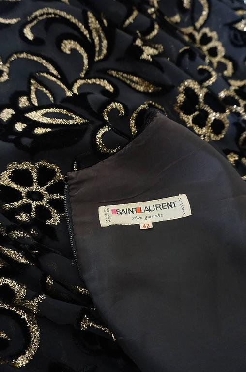 Early 1980s Yves Saint Laurent Gold & Black Velvet Dress For Sale 6
