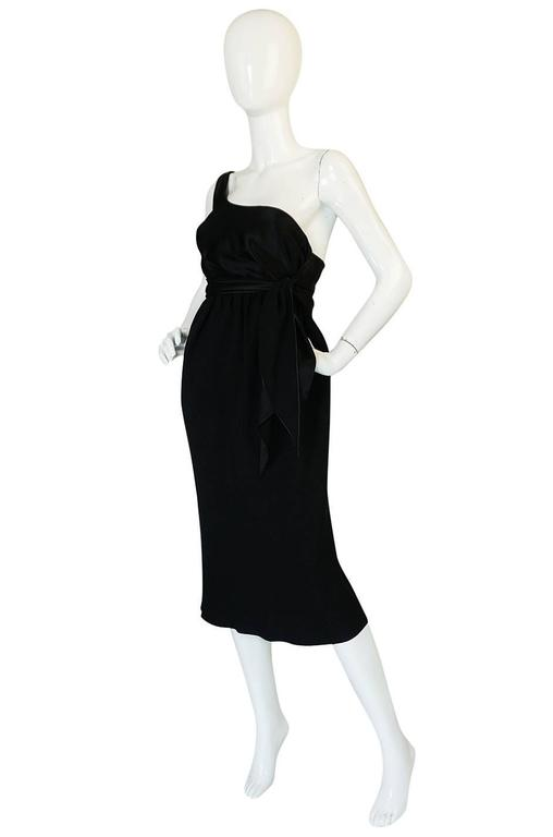 Documented 1983 Halston Black One Shoulder Wrap Dress In Excellent Condition For Sale In Rockwood, ON