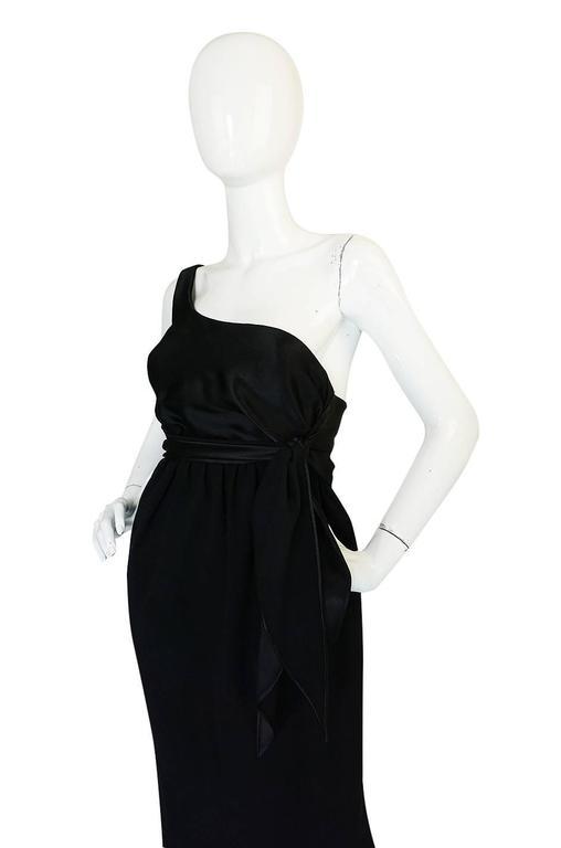 Women's Documented 1983 Halston Black One Shoulder Wrap Dress For Sale