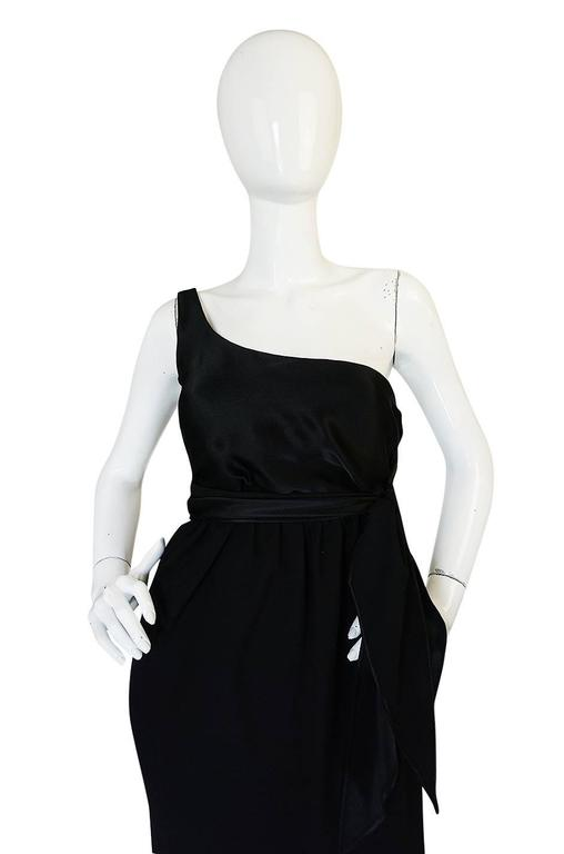 Documented 1983 Halston Black One Shoulder Wrap Dress For Sale 1