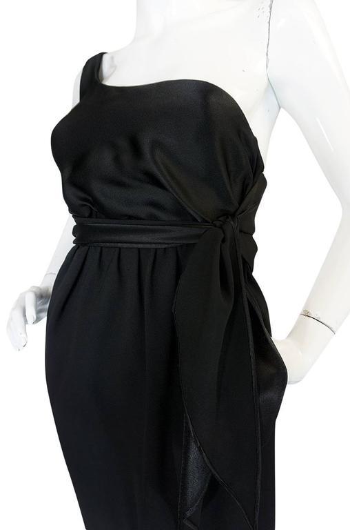 Documented 1983 Halston Black One Shoulder Wrap Dress For Sale 2