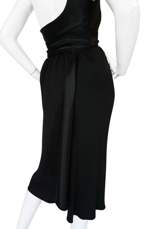 Documented 1983 Halston Black One Shoulder Wrap Dress For Sale 3