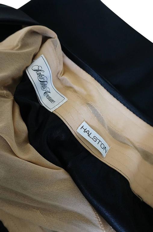 Documented 1983 Halston Black One Shoulder Wrap Dress For Sale 4