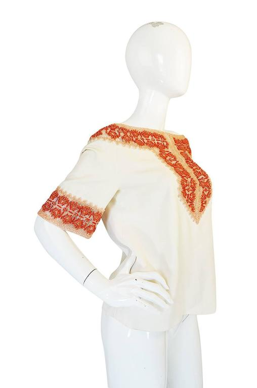 Beige 1990s Valentino Coral Beading on Net Cream Silk Top For Sale