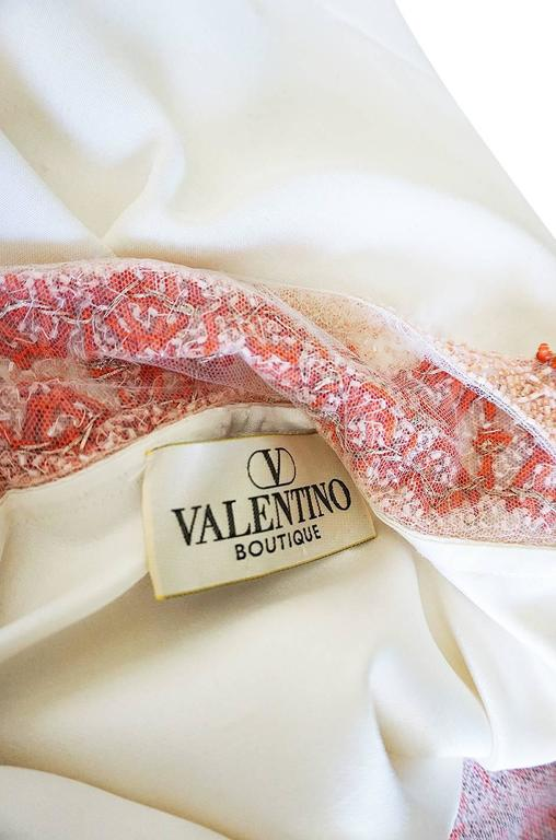 1990s Valentino Coral Beading on Net Cream Silk Top For Sale 2