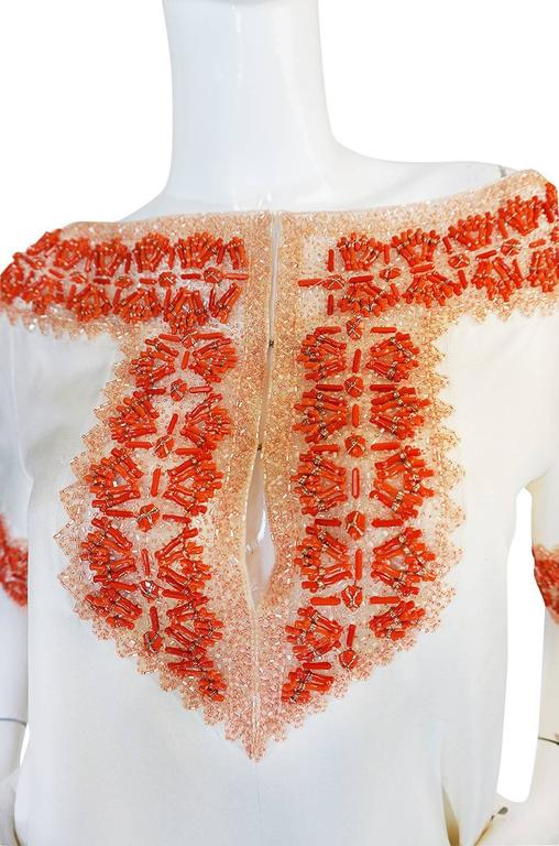 1990s Valentino Coral Beading on Net Cream Silk Top For Sale 1