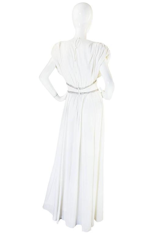 1970s Frank Usher Grecian Draped Beaded Jersey Dress 2