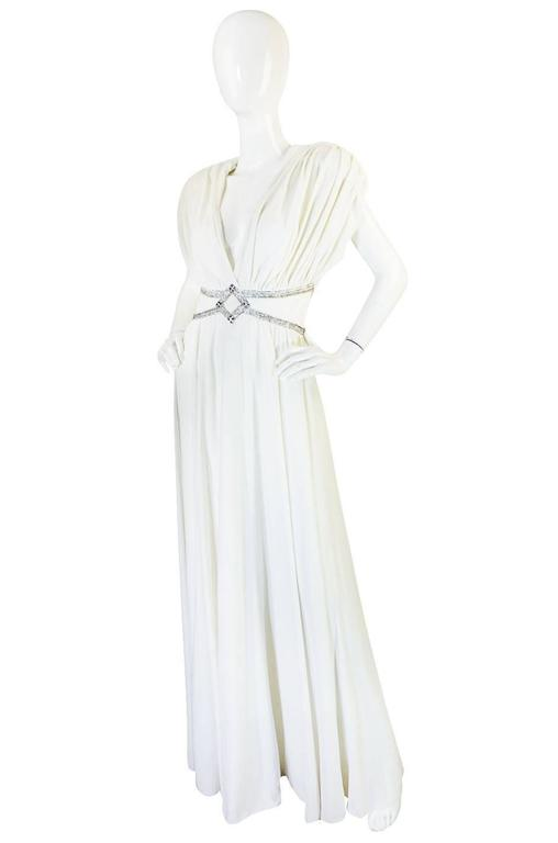 1970s Frank Usher Grecian Draped Beaded Jersey Dress 3