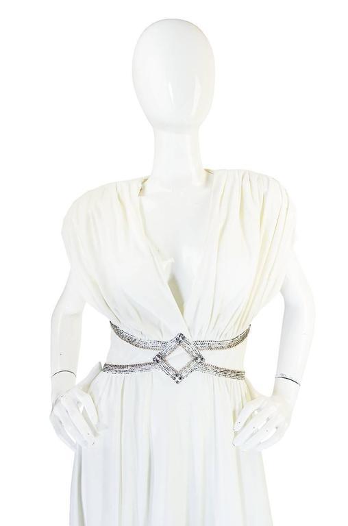 1970s Frank Usher Grecian Draped Beaded Jersey Dress 4