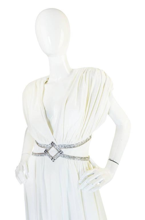 1970s Frank Usher Grecian Draped Beaded Jersey Dress 5