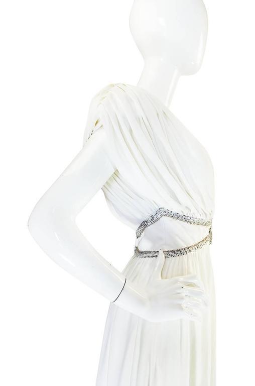 1970s Frank Usher Grecian Draped Beaded Jersey Dress 6