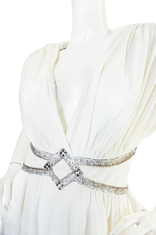 1970s Frank Usher Grecian Draped Beaded Jersey Dress 7