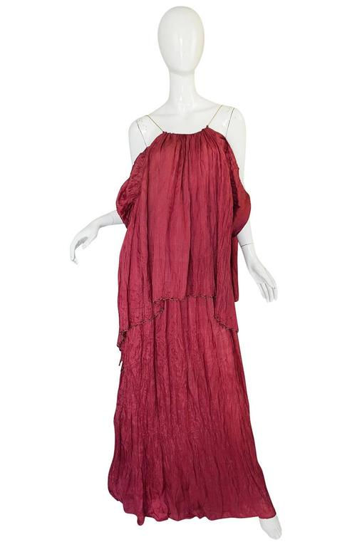Red c1907-1920 Mariano Fortuny Pleated Muted Raspberry Silk Gown For Sale