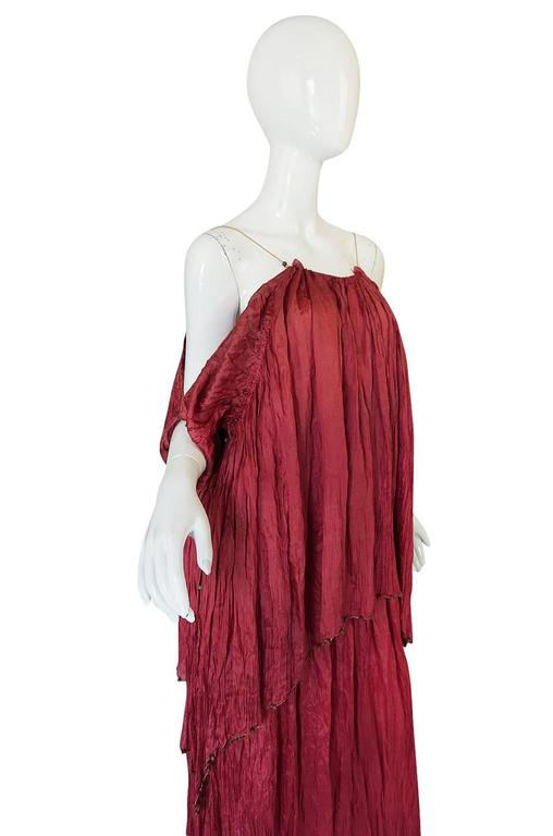 Women's c1907-1920 Mariano Fortuny Pleated Muted Raspberry Silk Gown For Sale