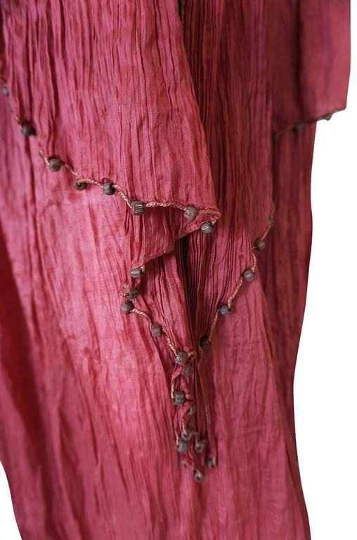 c1907-1920 Mariano Fortuny Pleated Muted Raspberry Silk Gown For Sale 2