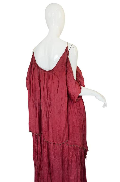 c1907-1920 Mariano Fortuny Pleated Muted Raspberry Silk Gown For Sale 1