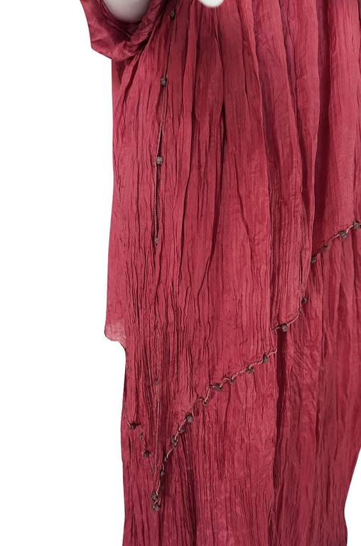 c1907-1920 Mariano Fortuny Pleated Muted Raspberry Silk Gown For Sale 3
