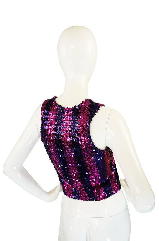 c1973 Biba Blue and Pink Sequin Vest Top 2