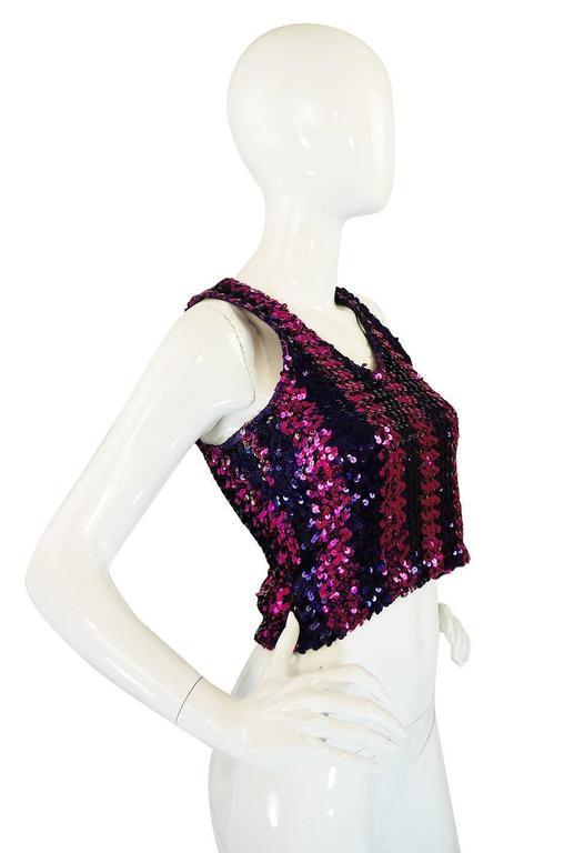 c1973 Biba Blue and Pink Sequin Vest Top 3
