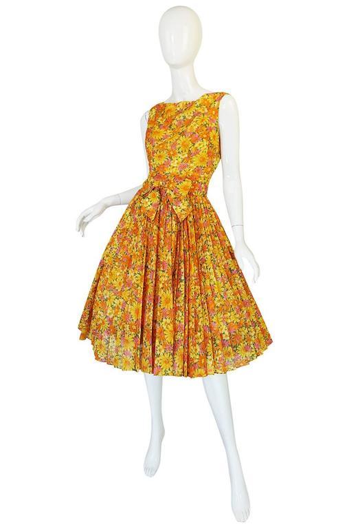 Orange 1950s Suzy Perette Citrus Floral Cotton Voile Pleated Skirt Dress For Sale