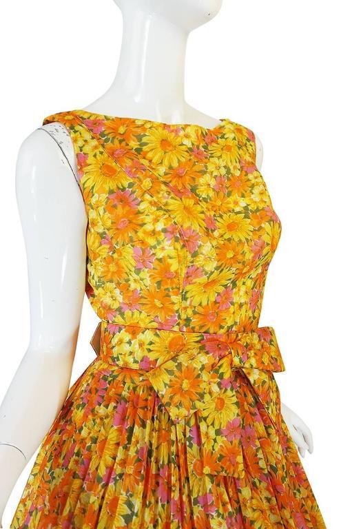 1950s Suzy Perette Citrus Floral Cotton Voile Pleated Skirt Dress For Sale 1
