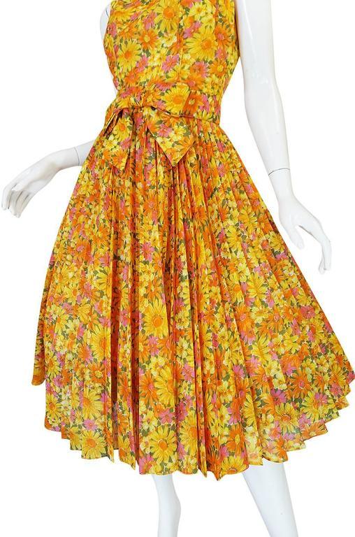 1950s Suzy Perette Citrus Floral Cotton Voile Pleated Skirt Dress For Sale 2