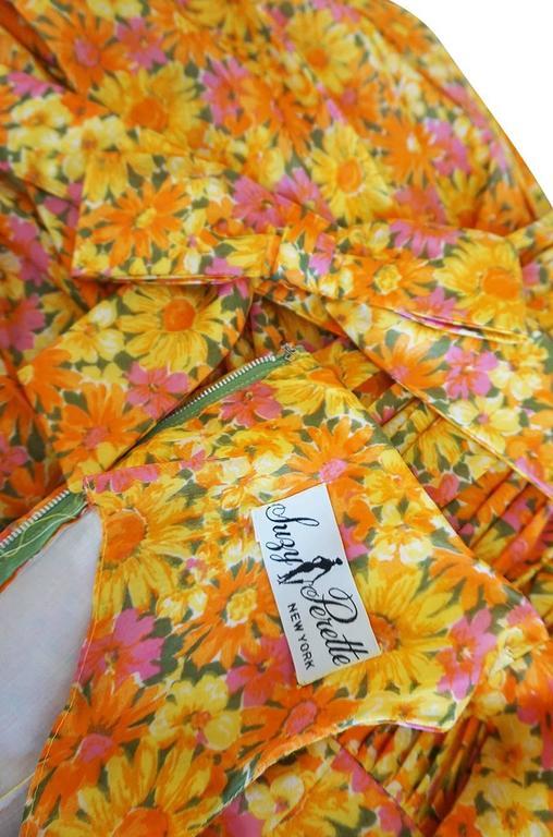 1950s Suzy Perette Citrus Floral Cotton Voile Pleated Skirt Dress For Sale 3