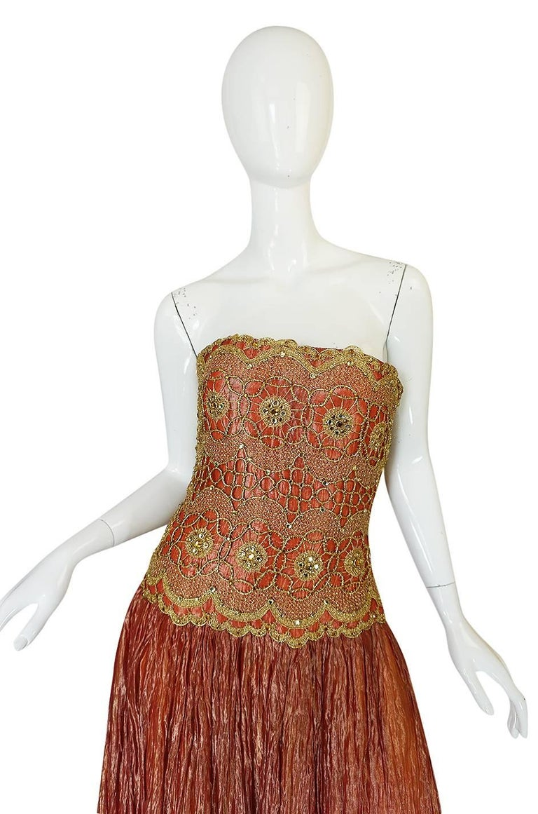 Brown 1980s Bob Mackie Strapless Gold Cord & Lame Silk Dress For Sale