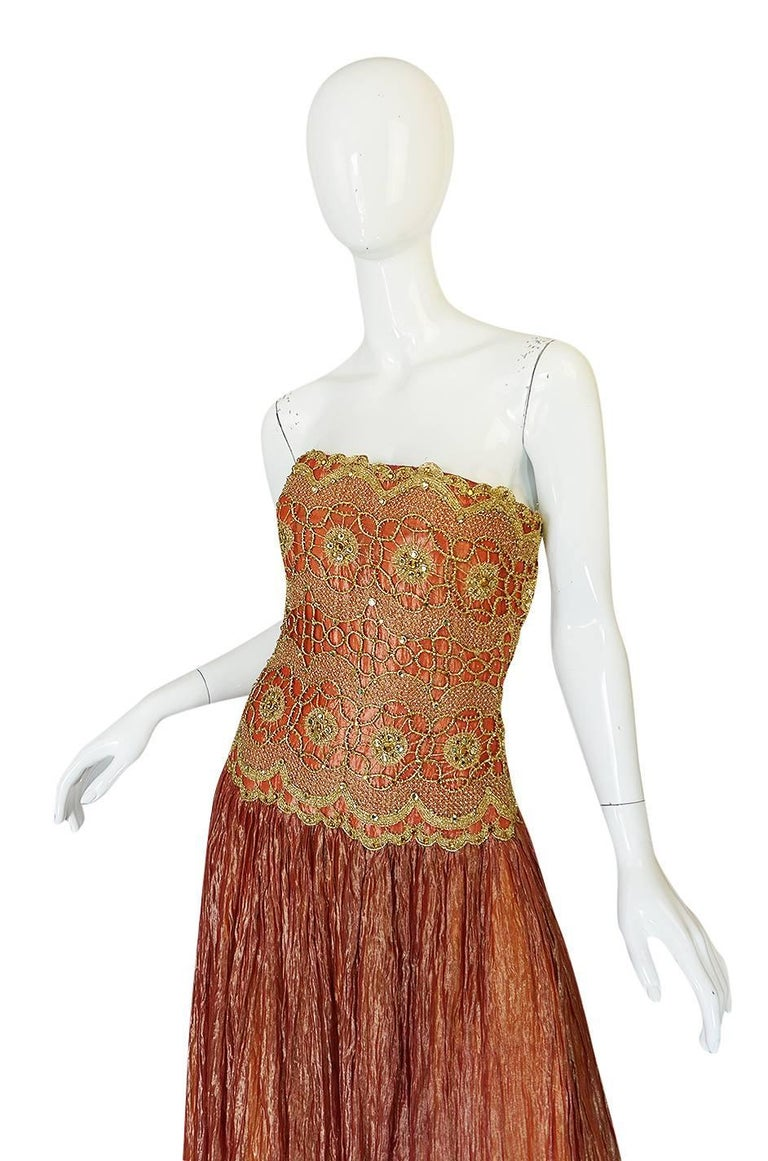1980s Bob Mackie Strapless Gold Cord & Lame Silk Dress In Excellent Condition For Sale In Toronto, ON