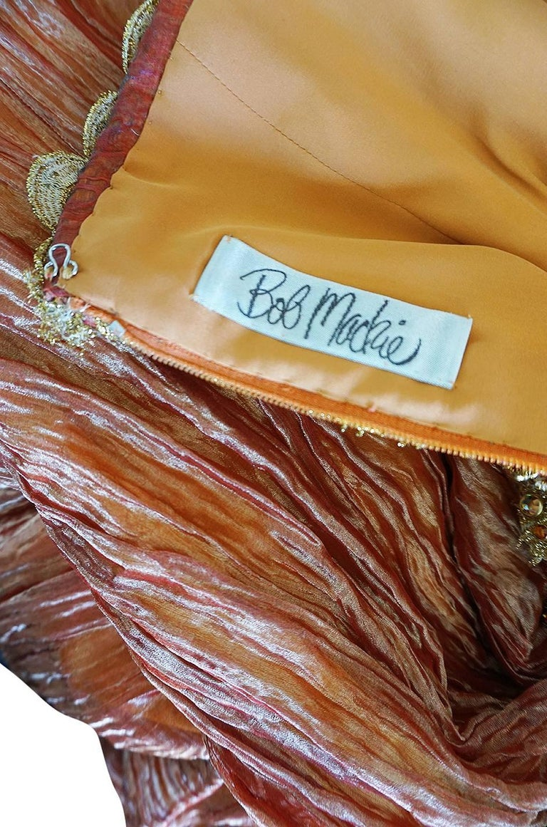 1980s Bob Mackie Strapless Gold Cord & Lame Silk Dress For Sale 5