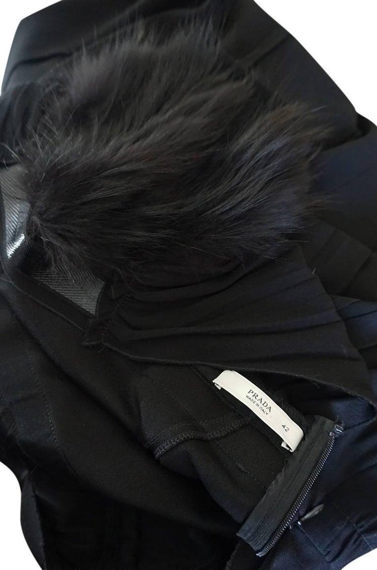 Recent Prada Black Dress with Fox Fur Trimmed Shoulders For Sale 5