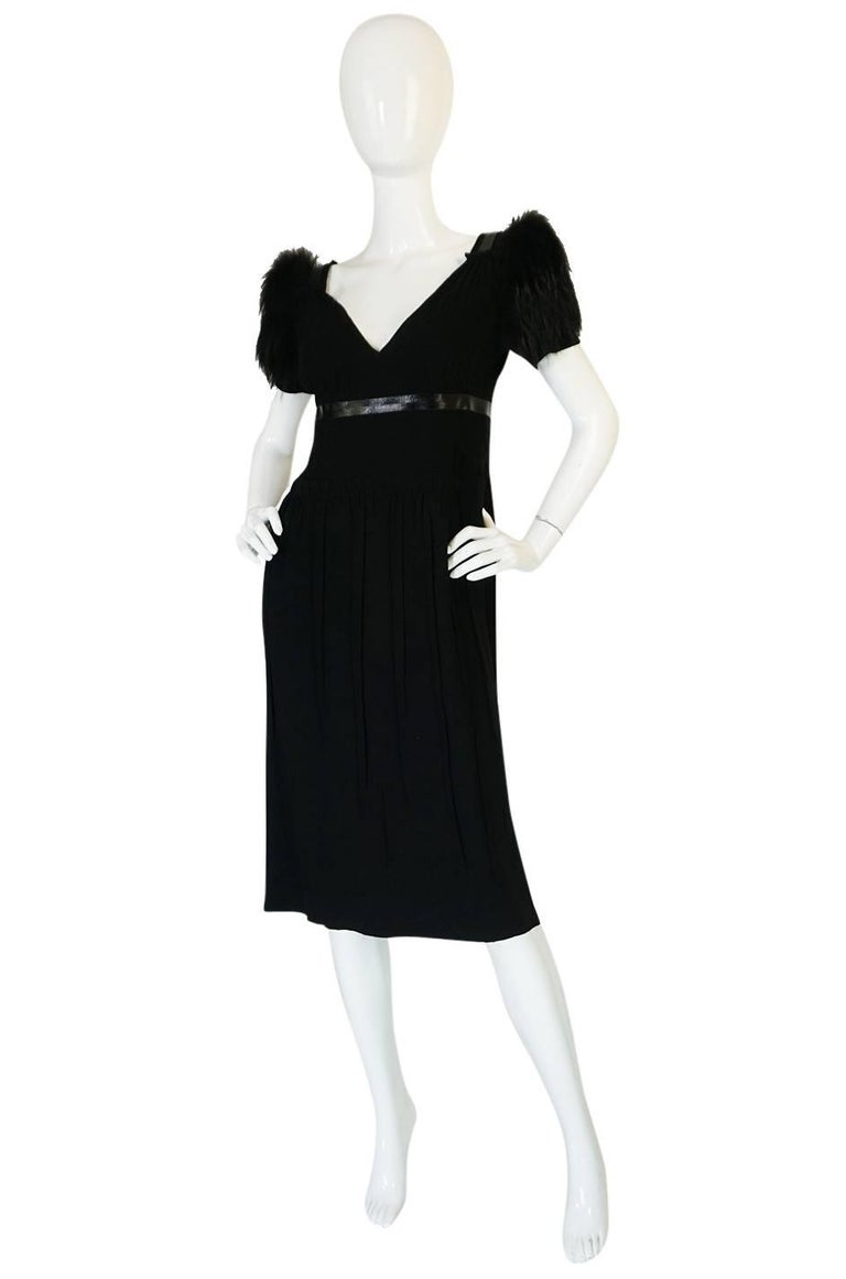 Recent Prada Black Dress with Fox Fur Trimmed Shoulders In Excellent Condition For Sale In Rockwood, ON