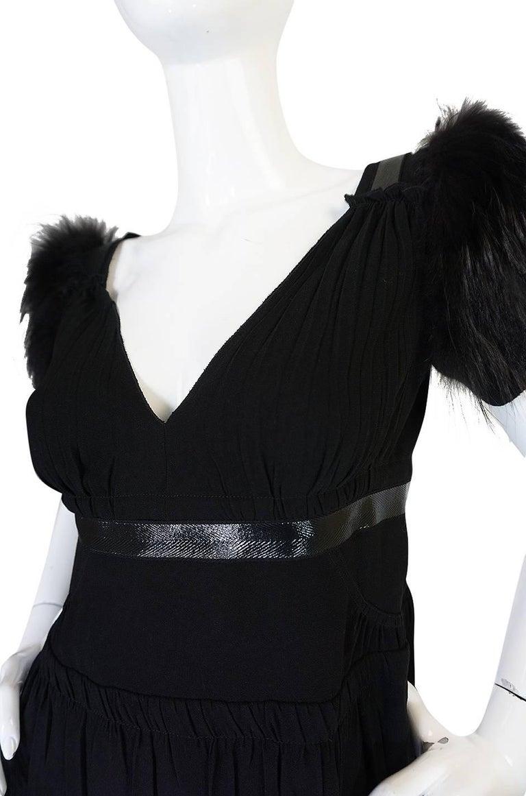 Recent Prada Black Dress with Fox Fur Trimmed Shoulders For Sale 2