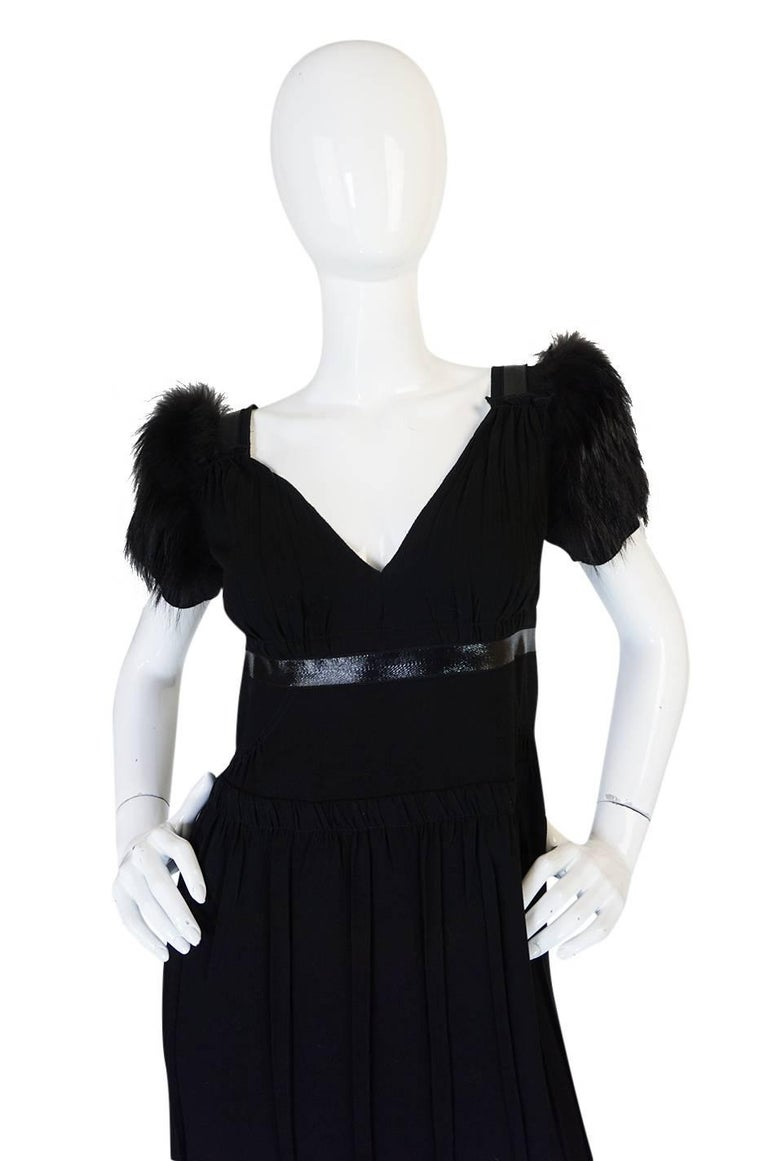 Women's Recent Prada Black Dress with Fox Fur Trimmed Shoulders For Sale