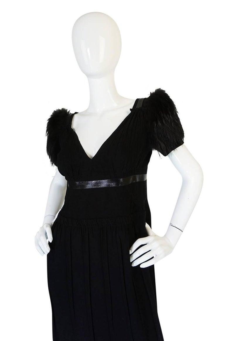 Recent Prada Black Dress with Fox Fur Trimmed Shoulders For Sale 1