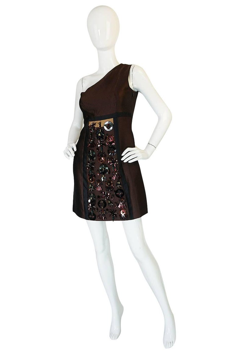 S/S 2005 Prada Look 48 One Shoulder Jeweled Embellished Dress 3