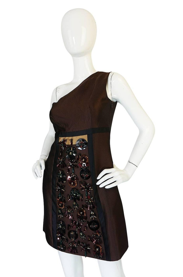 Women's S/S 2005 Prada Look 48 One Shoulder Jeweled Embellished Dress For Sale