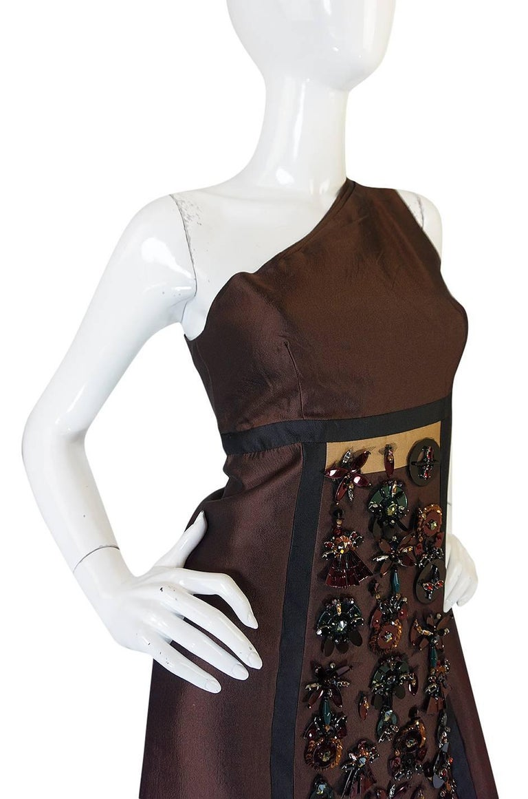 S/S 2005 Prada Look 48 One Shoulder Jeweled Embellished Dress 6