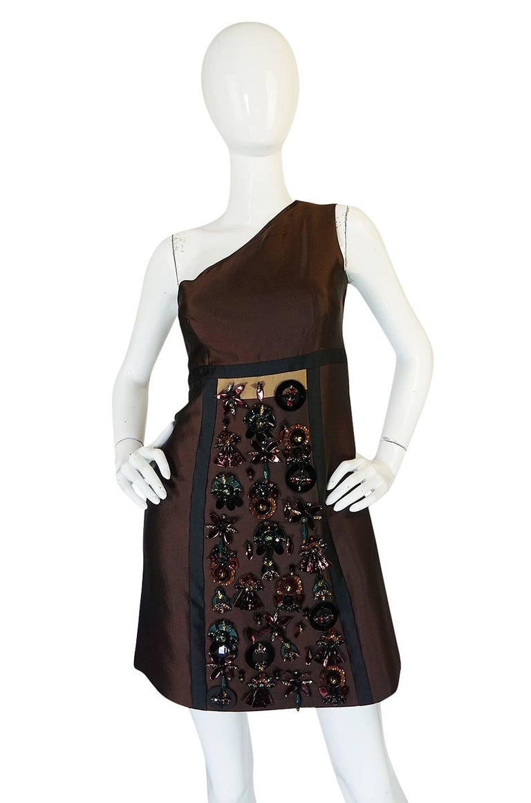 S/S 2005 Prada Look 48 One Shoulder Jeweled Embellished Dress In Excellent Condition For Sale In Toronto, CA