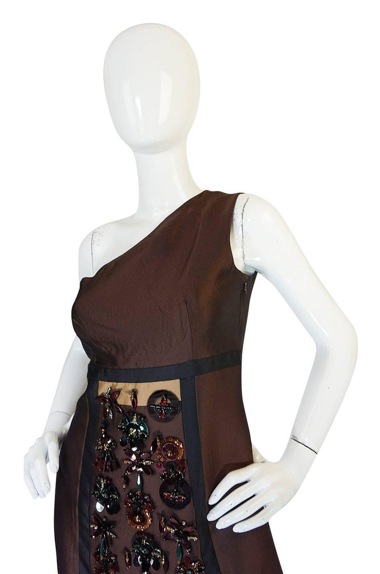 S/S 2005 Prada Look 48 One Shoulder Jeweled Embellished Dress 7