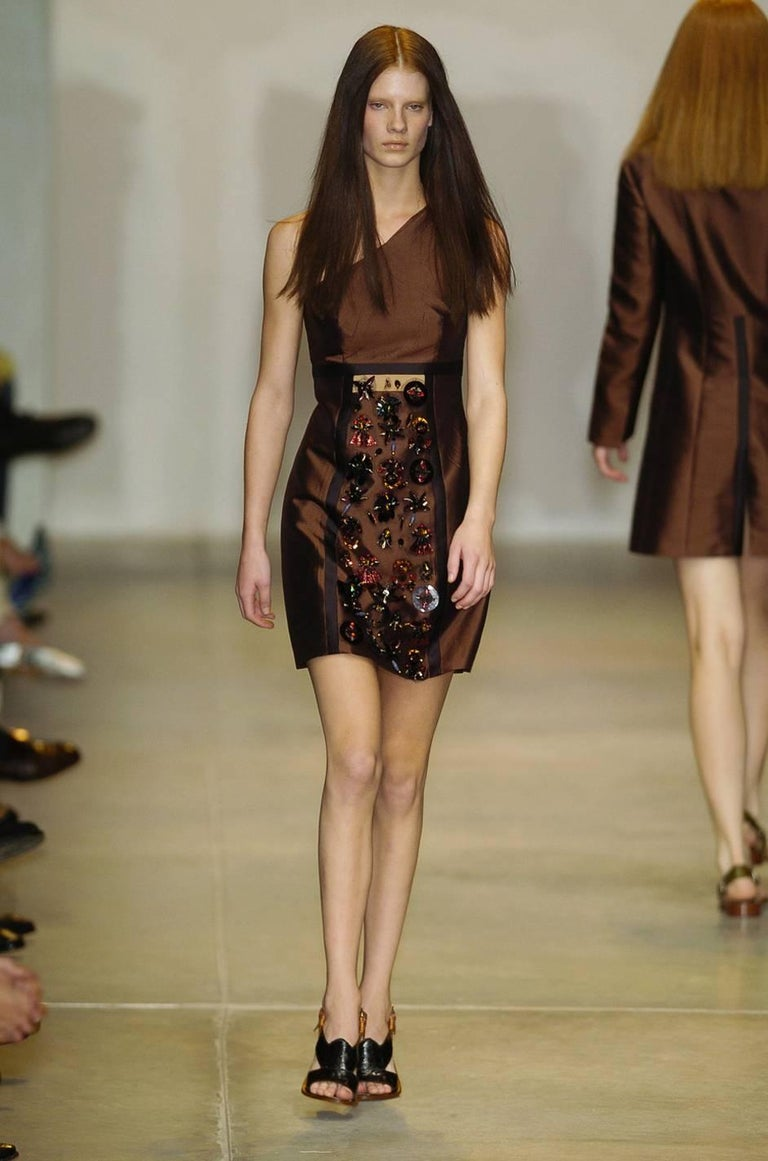 S/S 2005 Prada Look 48 One Shoulder Jeweled Embellished Dress 10