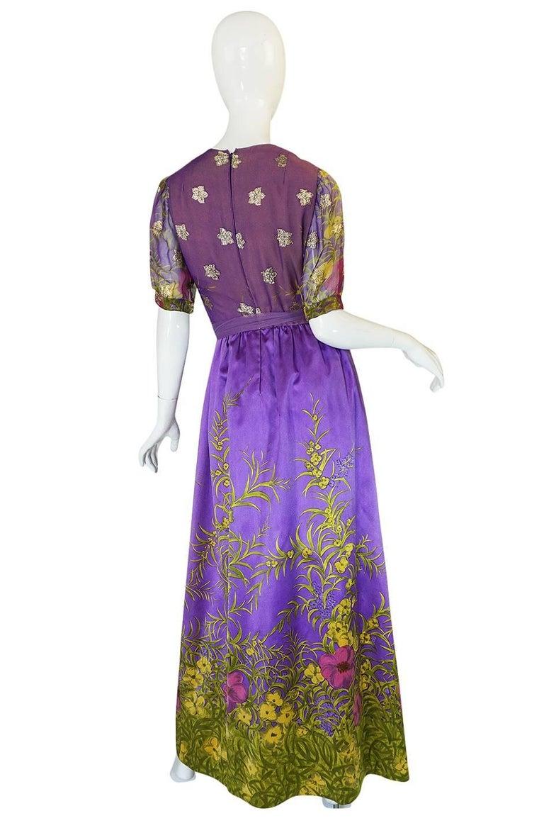 1960s Oscar de la Renta Silk Floral Dress w Metallic Accents 2