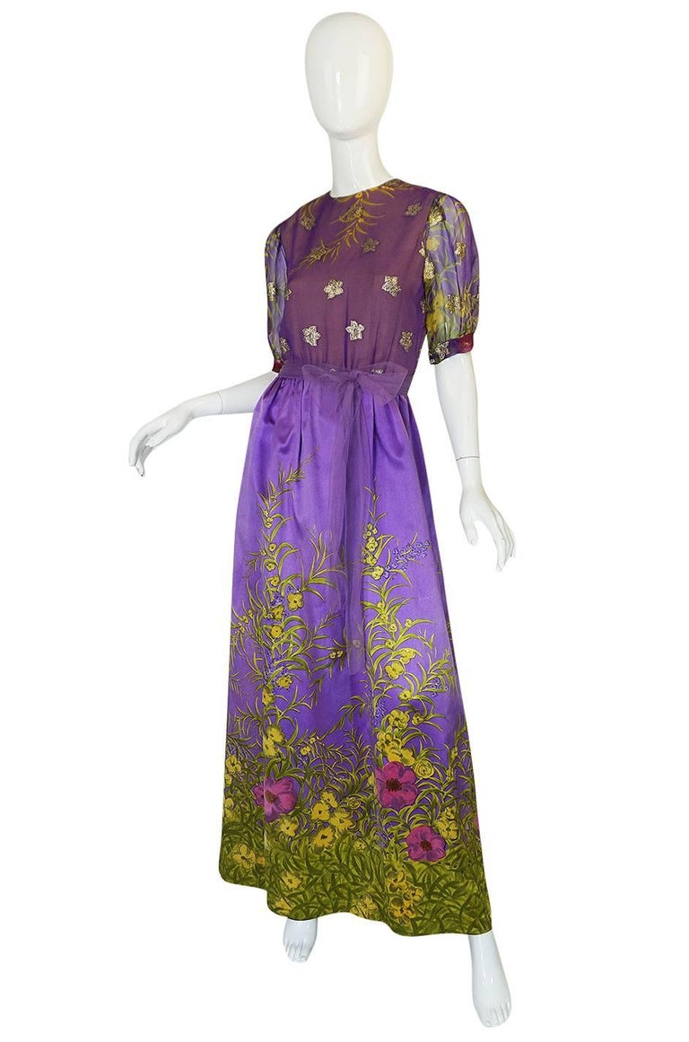 Gray 1960s Oscar de la Renta Silk Floral Dress w Metallic Accents For Sale