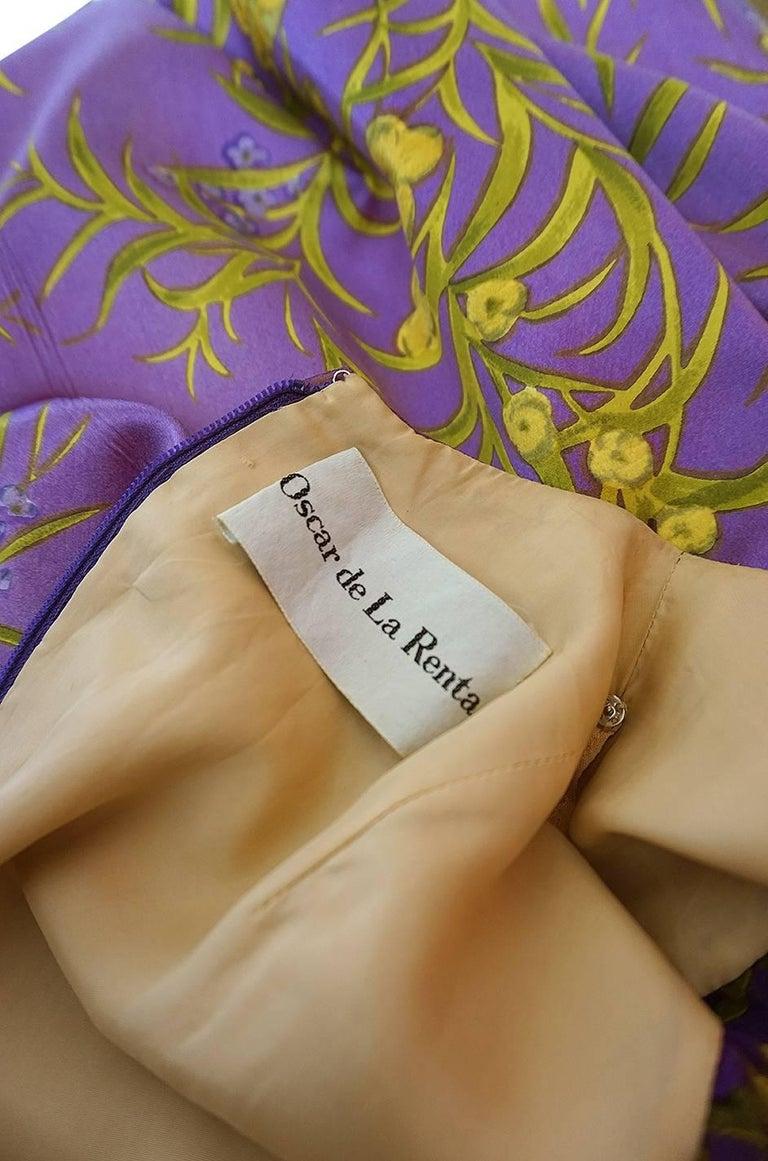 1960s Oscar de la Renta Silk Floral Dress w Metallic Accents 10