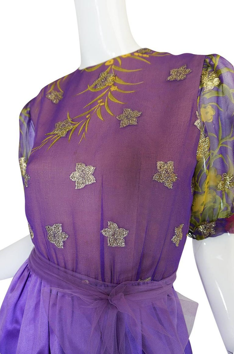 1960s Oscar de la Renta Silk Floral Dress w Metallic Accents For Sale 4