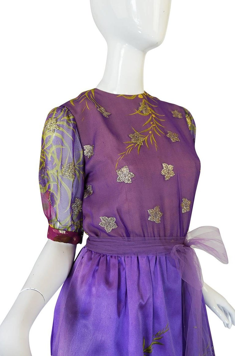 1960s Oscar de la Renta Silk Floral Dress w Metallic Accents For Sale 1