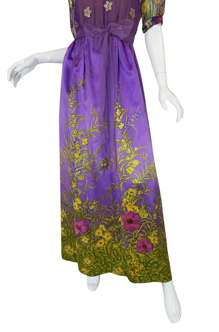 1960s Oscar de la Renta Silk Floral Dress w Metallic Accents For Sale 2