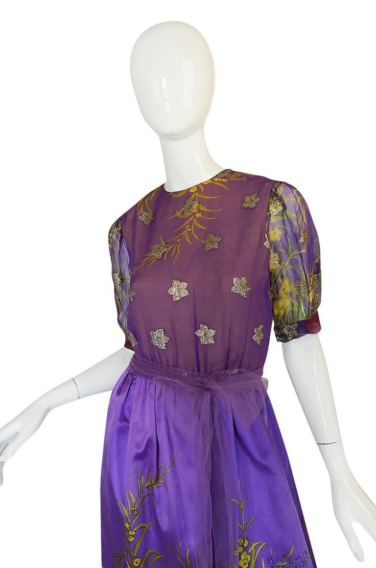 Women's 1960s Oscar de la Renta Silk Floral Dress w Metallic Accents For Sale