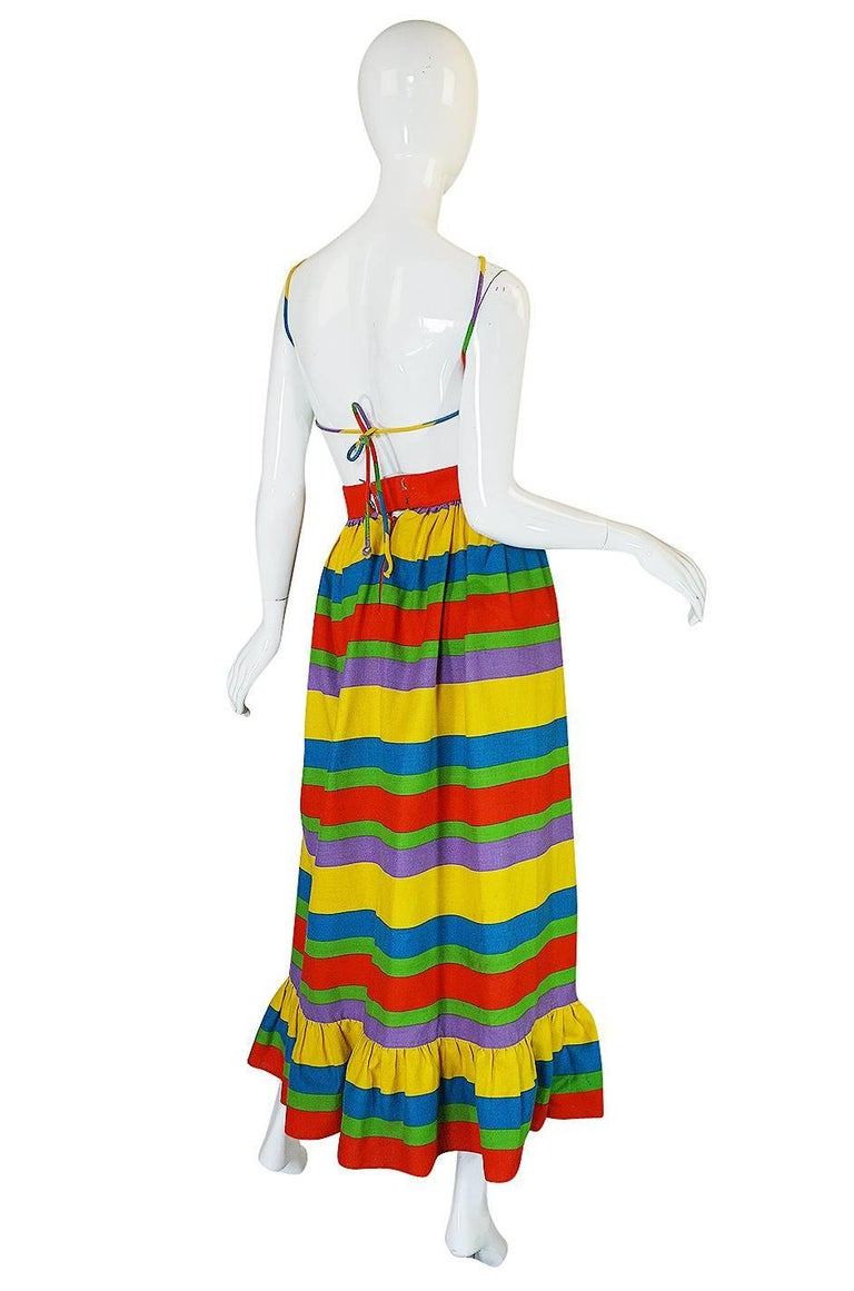 1970s Oscar de la Renta Backless Rainbow Striped Halter Dress 2